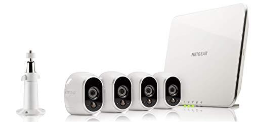 Arlo HD Smart Home 4 HD-Überwachungskameras und Sicherheitssystem (100% kabellos, Innen/Außen, WLAN, Bewegungsmelder, Nachtsicht) weiß, VMS3430