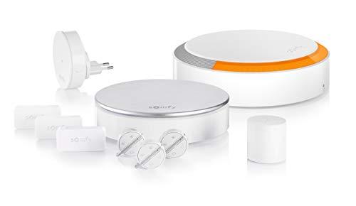 Somfy 1875230 Home Alarm Plus Smart Home Haushaltsalarmanlage (Wireless-Sicherheitssystem, 3 Erschütterungssensoren für Fenster/Türen, Innen- und Außensirene, 3 Keyfob-Fernbedienung, Bewegungsmelder)