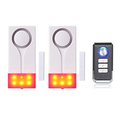Mengshen Tür- Und Fensteralarm – Funkalarm Mit 105 db Lautem Ton Und Hellem Licht, (2 Alarm Und 1 Fernbedienung)