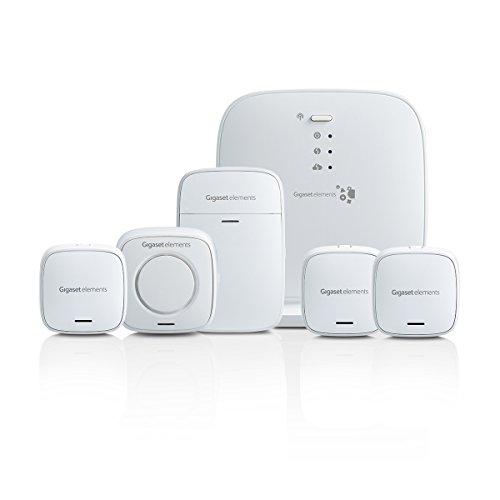 Gigaset Alarmanlage Haus Funk Komplettset für Einsteiger – mit lauter Alarmsirene, Bewegungsmelder, Tür-Alarm, 2x Fenster-Alarm – funktioniert mit Alexa und Google – Smart Home System