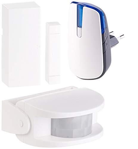 CASAcontrol Durchgangsmelder: Steckdosen-Funkklingel mit PIR-Bewegungsmelder & Tür- & Fenster-Alarm (Sensor)