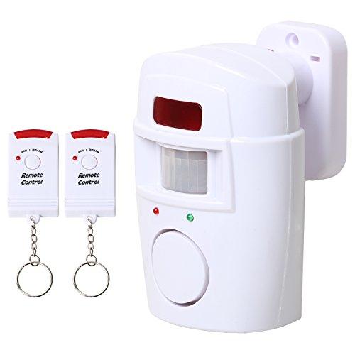 TRIXES Bewegungsmelder Alarm mit Fernbedienungen Batteriebetriebener für Garten Schuppen und Wohnwagen