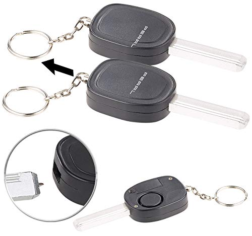 VisorTech Panik-Alarm: 2er-Set Personenalarm im Autoschlüssel-Design, 110-dB-Sirene, Kuli (Mini Alarm Schlüsselanhänger)