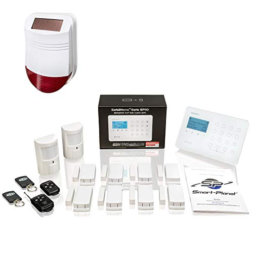 Safe2Home® Funk Alarmanlagen Set SP110 Sabotageschutz Solar Sirene – deutschsprachiges GSM Alarmsystem SMS Alarmierung – Alarmanlagen fürs Haus Büro inkl. Bewegungsmelder