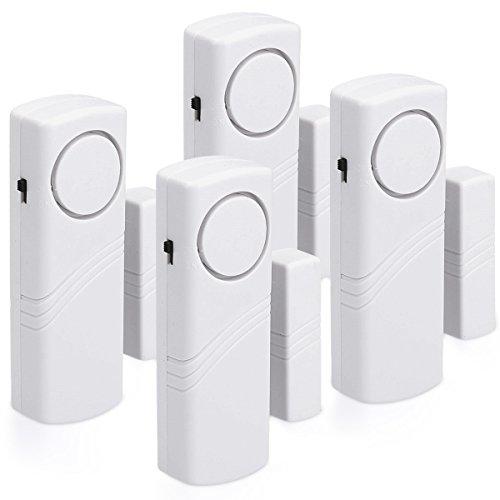kwmobile 4er Set Tür Fenster Alarm – 4x akustischer Einbruchschutz mit Batterien – Drahtlose Home Security Alarmanlage – Sirene mit 100dB Lautstärke