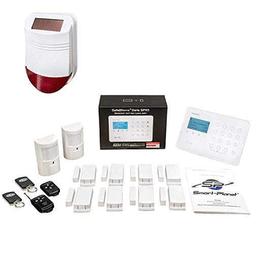 Safe2Home® Funk Alarmanlagen Set SP110 mit Sabotageschutz Solar Sirene deutschsprachiges GSM Alarmsystem SMS Alarmierung – Alarmanlagen fürs Haus Büro inkl. Zubehör Sensoren z.B. Bewegungsmelder