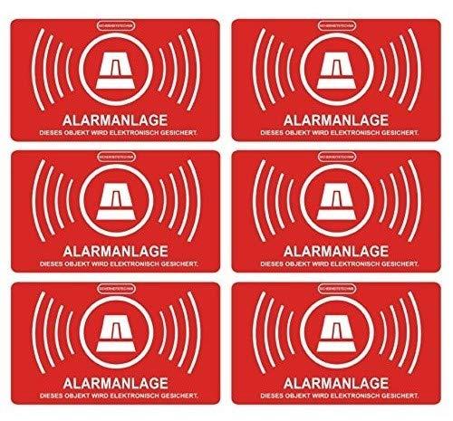 5 Stück Aufkleber Alarmanlage | alarmgesichert | Folie 5 x 3 cm | wetterfest | UV Schutz | Aufkleberset