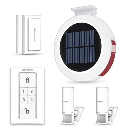 Solar GSM Drahtlos Funk Alarmanlage Sicherheitssystem Einbruchmeldeanlage Set für Wohnmobil Wohnwagen mit PIR-Bewegungsmelder, Tür- und Fensterkontakt, Anti-Diebstahl Sirene, Flash