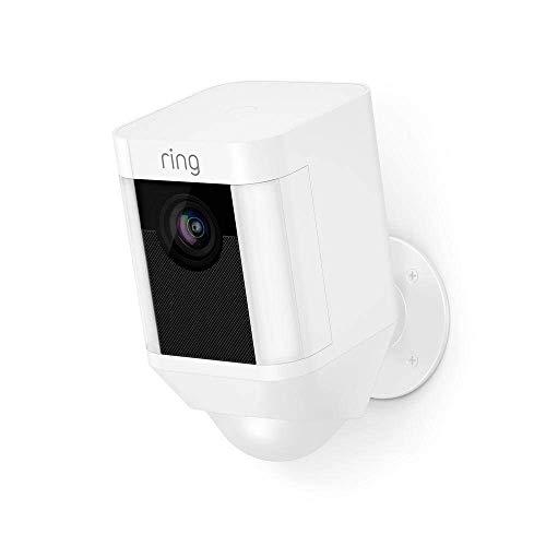 Ring Spotlight Cam Battery | HD Sicherheitskamera mit LED Licht, Sirene und Gegensprechfunktion, Batterie betrieben, weiß
