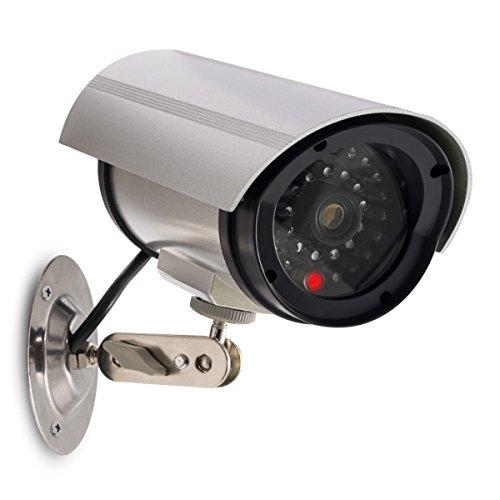 kwmobile Kamera Dummy Überwachungskamera Attrappe – Fake Camera mit rotem LED Licht – täuschend echt für Wand Decke – nötig 2xAA Batterie