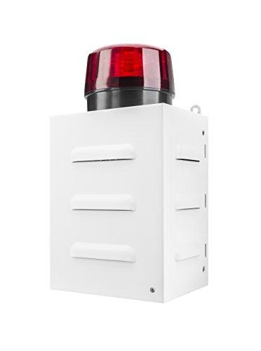 TR 1 Ferngesteuerte Alarmsirene für den Notfall (Fernbedienung, Außenbereich, 100 dB, Metallgehäuse, Batteriebetrieb, LED Anzeige, Blitzlicht) Weiß