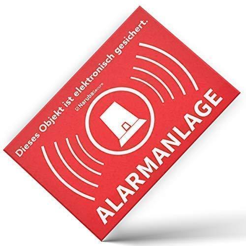 10 Stück – Alarm Aufkleber Alarmanlage – Achtung Alarmgesichert – Schild – Sticker (Hinweisschild – Warnschild – Warnhinweis) für Türen, Fenster, Tore – (5 cm x 3,5 cm)