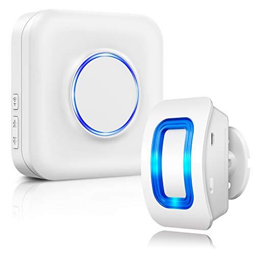Kabellose Haussicherheits Alarmanlage mit Bewegungsmelder-Alarm Detektor, 1 Bewegungsmelder und 1 Steckempfänger, 52 Glockentöne, LED-Anzeigen, für Familie, Haus und Geschäft, Garage